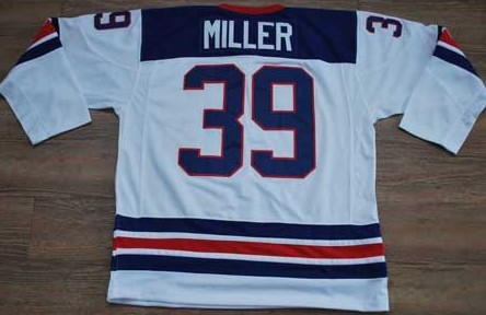 2010 Olympic Team USA #39 Ryan Miller Embroidered White 1960 Throwback NHL Jersey