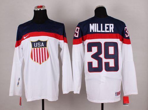 2014 Olympic Team USA #39 Ryan Miller White Stitched NHL Jersey
