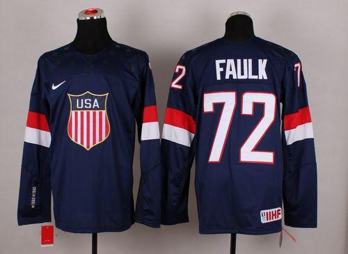 2014 Olympic Team USA #72 Justin Faulk Navy Blue Stitched NHL Jersey