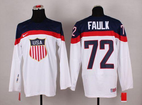 2014 Olympic Team USA #72 Justin Faulk White Stitched NHL Jersey
