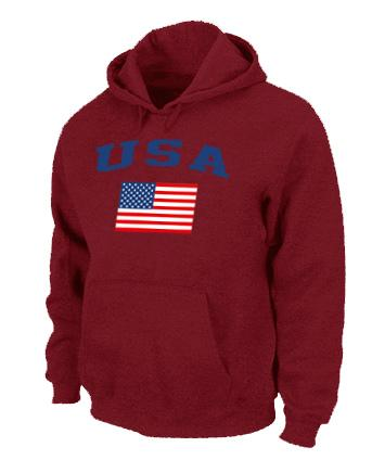 USA Olympics USA Flag Pullover NHL Hoodie Red