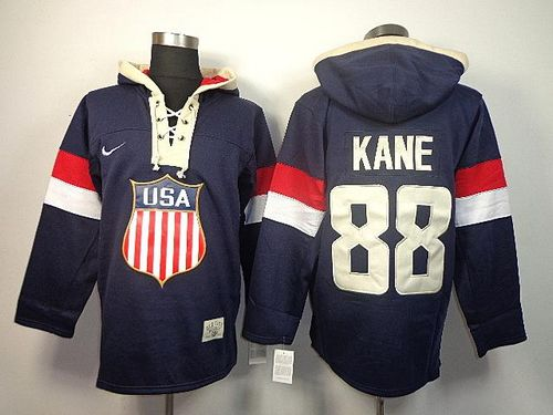 Team USA Olympics #88 Patrick Kane Navy Blue Sawyer Hooded Sweatshirt Stitched NHL Jersey
