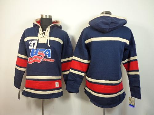 Olympic Team USA Blank Navy Blue Throwback Sawyer Hooded Sweatshirt Stitched NHL Jersey