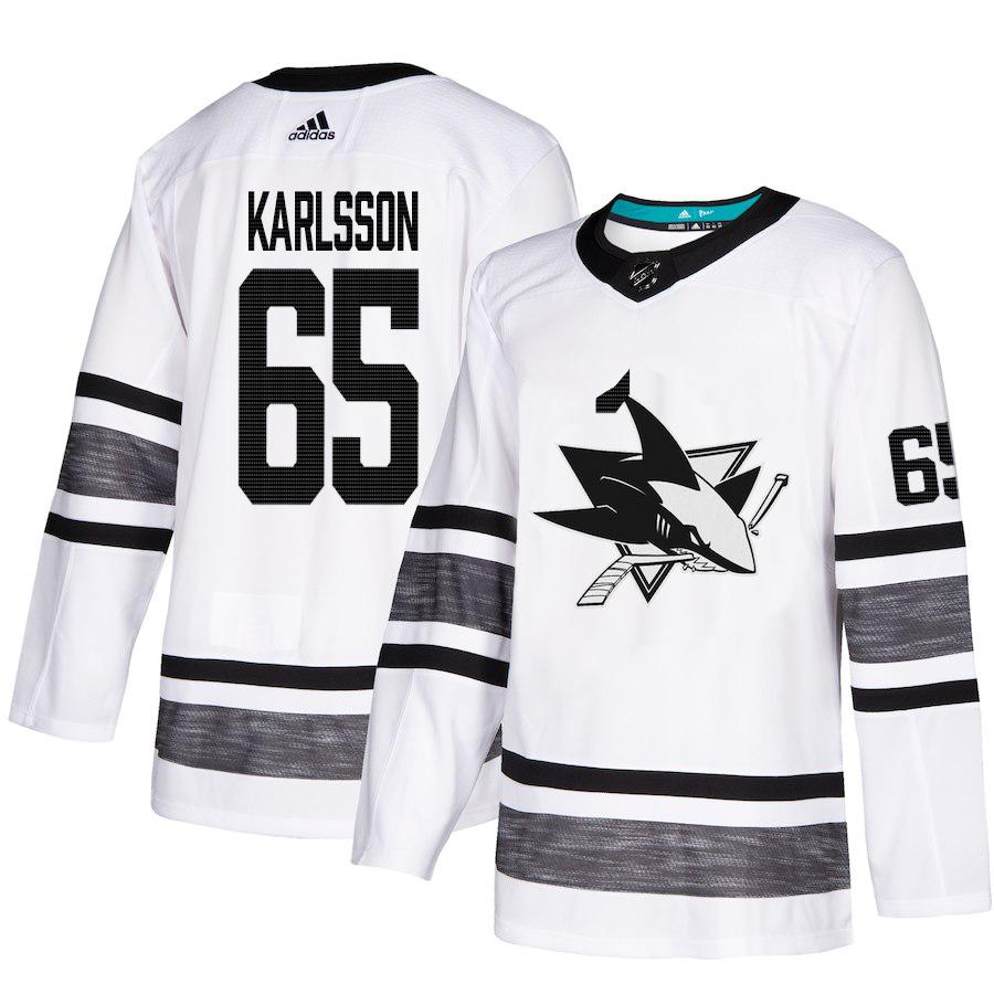 Adidas Sharks #65 Erik Karlsson White Authentic 2019 All-Star Stitched NHL Jersey