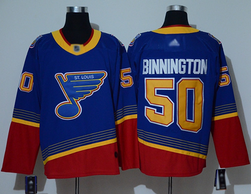 Adidas Blues #50 Jordan Binnington Blue/Red Authentic 2019 Heritage Stitched NHL Jersey