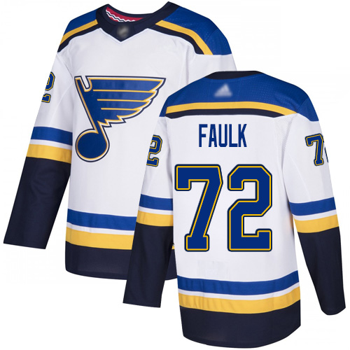 Adidas Blues #72 Justin Faulk White Road Authentic Stitched NHL Jersey