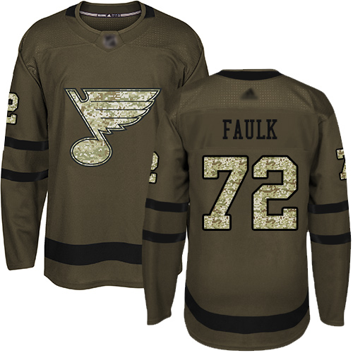 Adidas Blues #72 Justin Faulk Green Salute to Service Stitched NHL Jersey