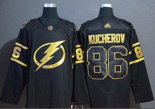 Adidas Lightning #86 Nikita Kucherov Black/Gold Authentic Stitched NHL Jersey