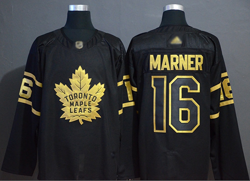 Adidas Maple Leafs #16 Mitchell Marner Black/Gold Authentic Stitched NHL Jersey