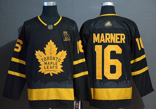 Adidas Maple Leafs #16 Mitchell Marner Black Authentic Gold Champions Stitched NHL Jersey