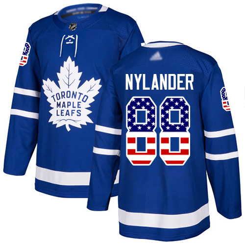 Adidas Maple Leafs #88 William Nylander Blue Home Authentic USA Flag Stitched NHL Jersey