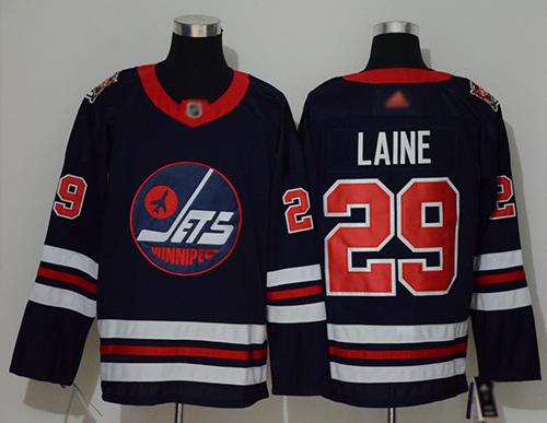 Adidas Jets #29 Patrik Laine Navy Blue Authentic 2019 Heritage Classic Stitched NHL Jersey