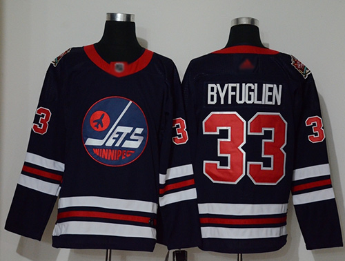 Adidas Jets #33 Dustin Byfuglien Navy Blue Authentic 2019 Heritage Classic Stitched NHL Jersey