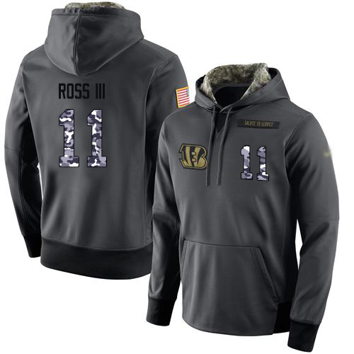 NFL Men's Nike Cincinnati Bengals #11 John Ross III Stitched Black Anthracite Salute to Service Player Performance Hoodie