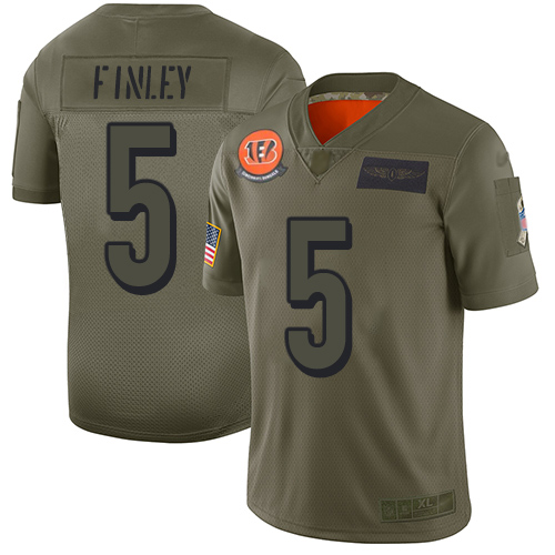Nike Bengals #5 Ryan Finley Camo Men's Stitched NFL Limited 2019 Salute To Service Jersey