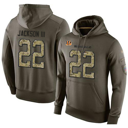NFL Men's Nike Cincinnati Bengals #22 William Jackson III Stitched Green Olive Salute To Service KO Performance Hoodie