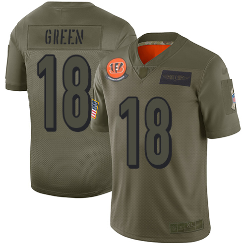 Nike Bengals #18 A.J. Green Camo Men's Stitched NFL Limited 2019 Salute To Service Jersey