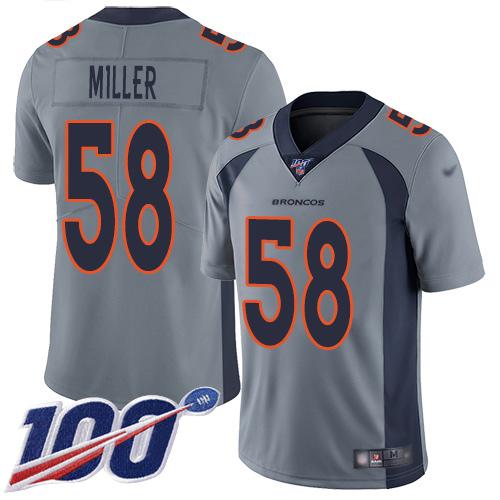 Nike Broncos #58 Von Miller Gray Men's Stitched NFL Limited Inverted Legend 100th Season Jersey