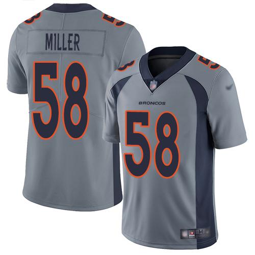 Nike Broncos #58 Von Miller Gray Men's Stitched NFL Limited Inverted Legend Jersey