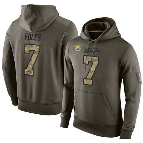 NFL Men's Nike Jacksonville Jaguars #7 Nick Foles Stitched Green Olive Salute To Service KO Performance Hoodie