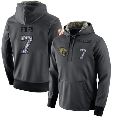 NFL Men's Nike Jacksonville Jaguars #7 Nick Foles Stitched Black Anthracite Salute to Service Player Performance Hoodie