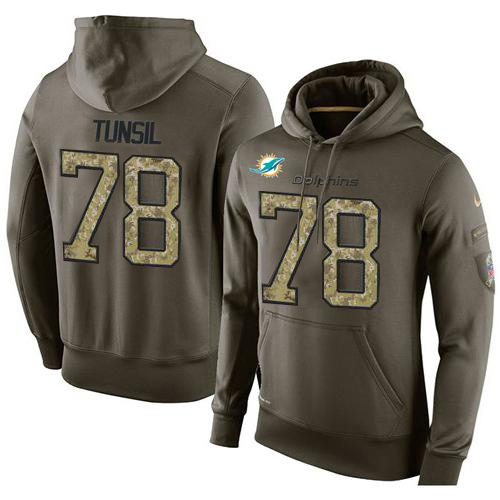 NFL Men's Nike Miami Dolphins #78 Laremy Tunsil Stitched Green Olive Salute To Service KO Performance Hoodie
