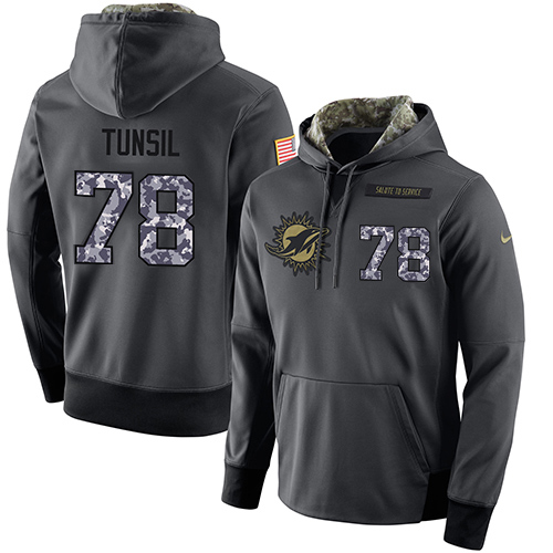 NFL Men's Nike Miami Dolphins #78 Laremy Tunsil Stitched Black Anthracite Salute to Service Player Performance Hoodie