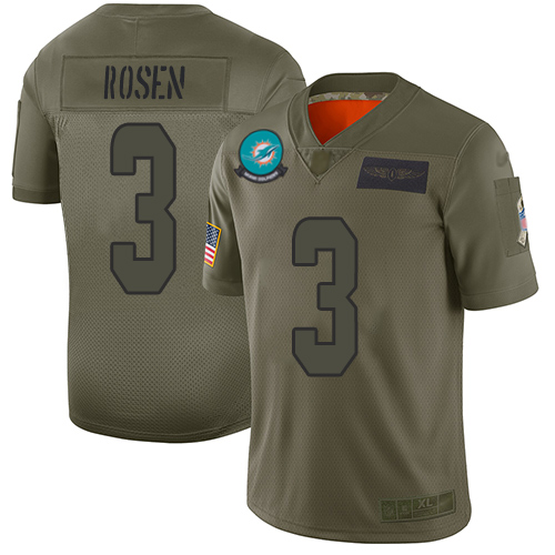 Nike Dolphins #3 Josh Rosen Camo Men's Stitched NFL Limited 2019 Salute To Service Jersey