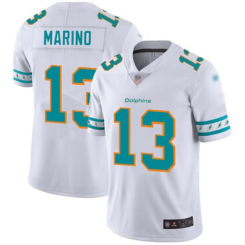 Nike Dolphins #13 Dan Marino White Men's Stitched NFL Limited Team Logo Fashion Jersey