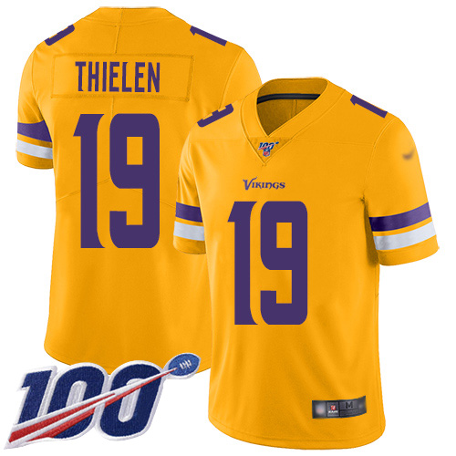 Nike Vikings #19 Adam Thielen Gold Men's Stitched NFL Limited Inverted Legend 100th Season Jersey