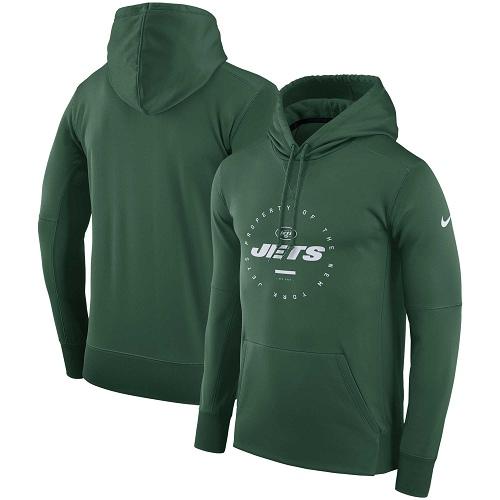 Men's New York Jets Nike Green Sideline Property Of Wordmark Logo Performance Pullover Hoodie