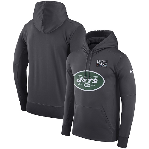 NFL Men's New York Jets Nike Anthracite Crucial Catch Performance Pullover Hoodie