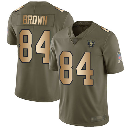 Nike Raiders #84 Antonio Brown Olive/Gold Men's Stitched NFL Limited 2017 Salute To Service Jersey
