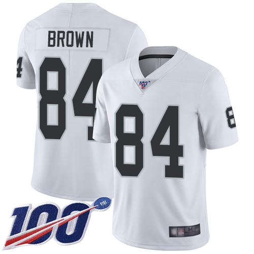 Nike Raiders #84 Antonio Brown White Men's Stitched NFL 100th Season Vapor Limited Jersey