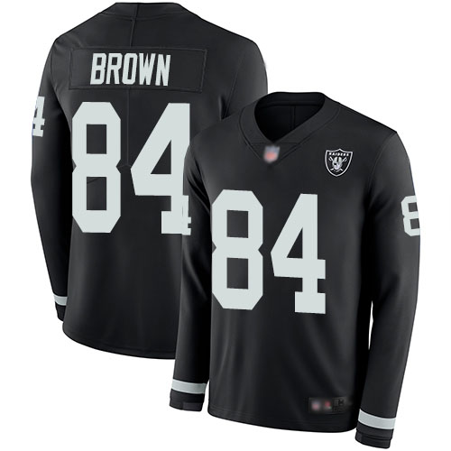 Nike Raiders #84 Antonio Brown Black Team Color Men's Stitched NFL Limited Therma Long Sleeve Jersey