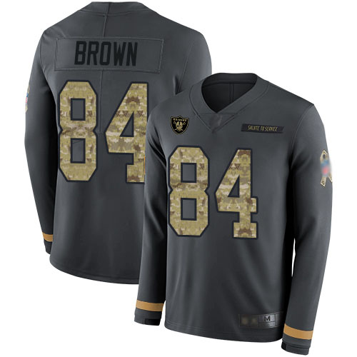 Nike Raiders #84 Antonio Brown Anthracite Salute to Service Men's Stitched NFL Limited Therma Long Sleeve Jersey