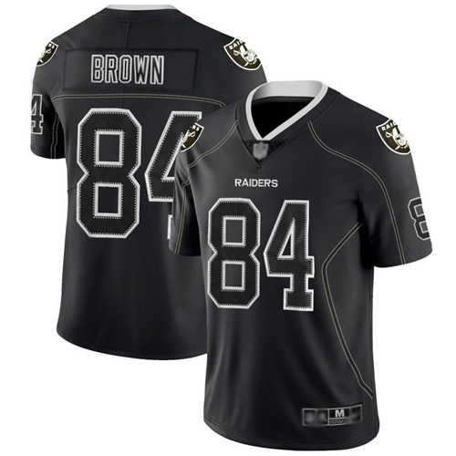 Nike Raiders #84 Antonio Brown Lights Out Black Men's Stitched NFL Limited Rush Jersey