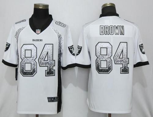 Nike Raiders #84 Antonio Brown White Men's Stitched NFL Limited Rush Drift Fashion Jersey