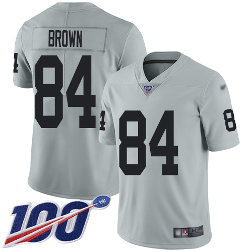 Nike Raiders #84 Antonio Brown Silver Men's Stitched NFL Limited Inverted Legend 100th Season Jersey