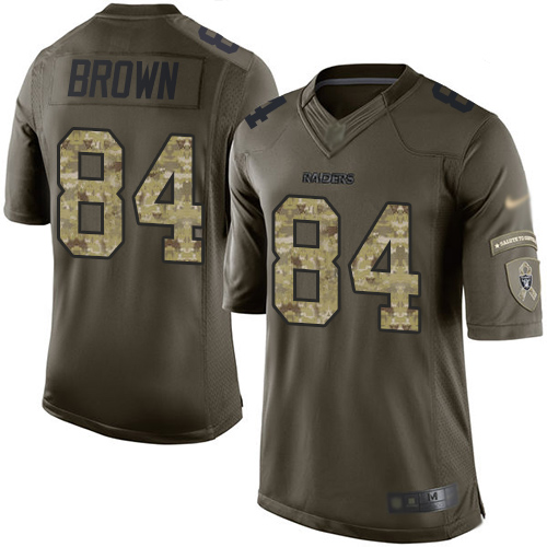 Nike Raiders #84 Antonio Brown Green Men's Stitched NFL Limited 2015 Salute To Service Jersey