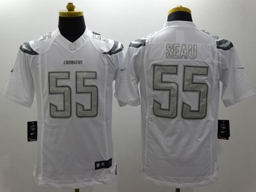 Nike Chargers #55 Junior Seau White Men's Stitched NFL Limited Platinum Jersey