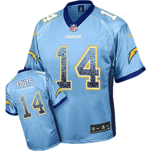 Nike Chargers #14 Dan Fouts Electric Blue Alternate Men's Stitched NFL Elite Drift Fashion Jersey