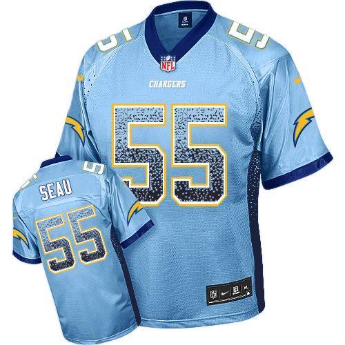 Nike Chargers #55 Junior Seau Electric Blue Alternate Men's Stitched NFL Elite Drift Fashion Jersey