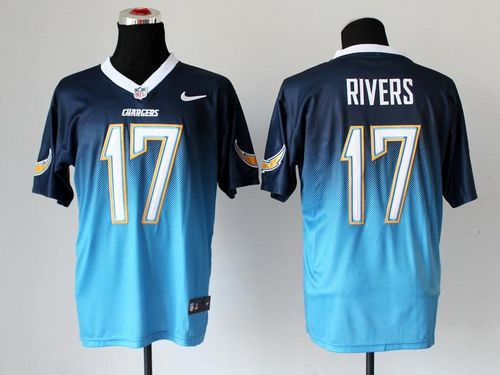 Nike Chargers #17 Philip Rivers Navy Blue/Electric Blue Men's Stitched NFL Elite Fadeaway Fashion Jersey