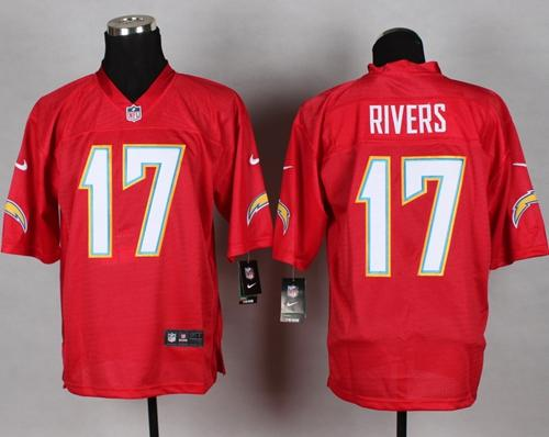 Nike Chargers #17 Philip Rivers Red Men's Stitched NFL Elite QB Practice Jersey
