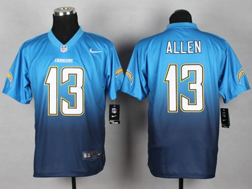 Nike Chargers #13 Keenan Allen Electric Blue/Navy Blue Men's Stitched NFL Elite Fadeaway Fashion Jersey