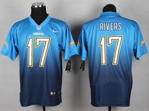 Nike Chargers #17 Philip Rivers Electric Blue/Navy Blue Men's Stitched NFL Elite Fadeaway Fashion Jersey