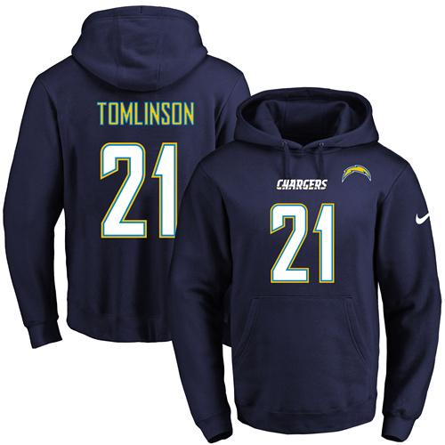 Nike Chargers #21 LaDainian Tomlinson Navy Blue Name & Number Pullover NFL Hoodie