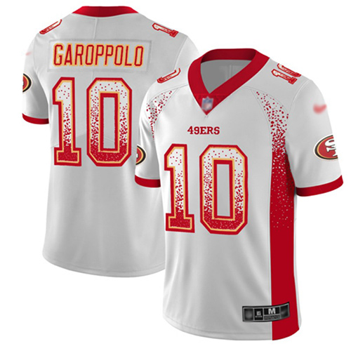 Nike 49ers #10 Jimmy Garoppolo White Men's Stitched NFL Limited Rush Drift Fashion Jersey