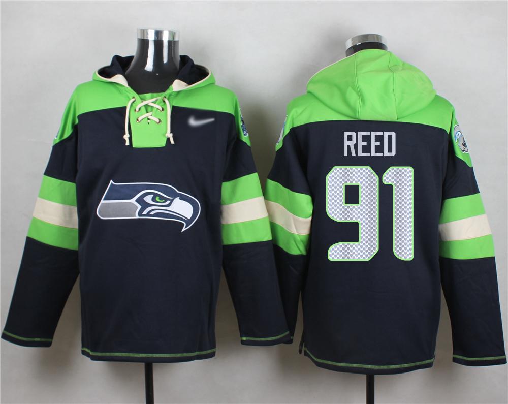 Nike Seahawks #91 Jarran Reed Navy Blue Player Pullover NFL Hoodie